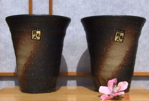 Beer Mugs X2 - Japanese with rustic brown striped glaze